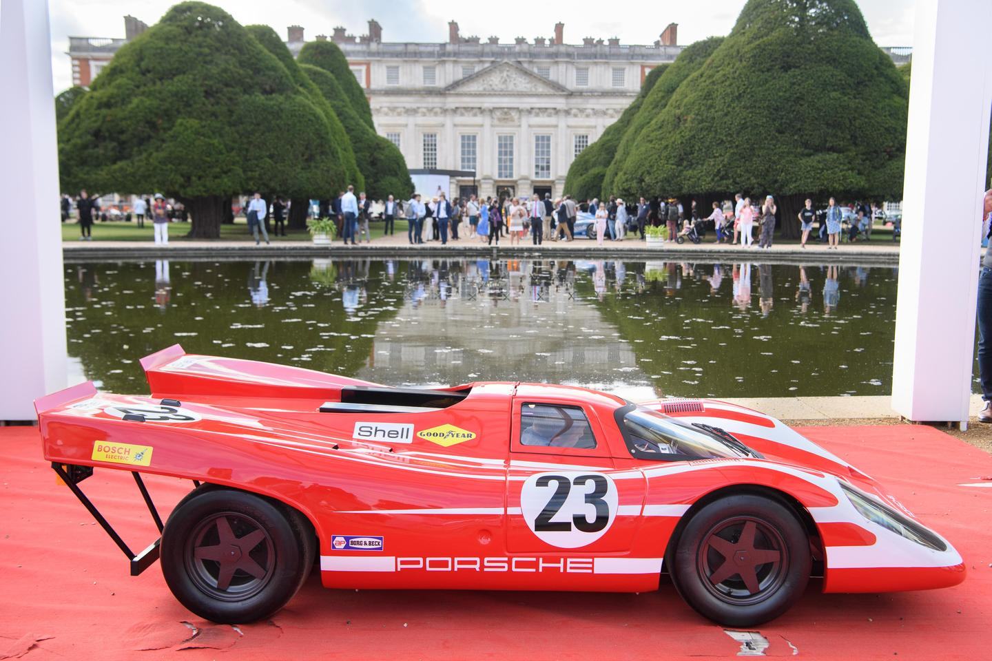 """The """"best in class"""" award for Junior cars went to this Porsche 917K replica of the car that won the 1970 24 Hours of Le Mans. The car has a 150cc Honda four-stroke engine and was flown from the United Kingdom to Porsche's private museum at its American Atlanta HQ for special exhibitions at one stage."""