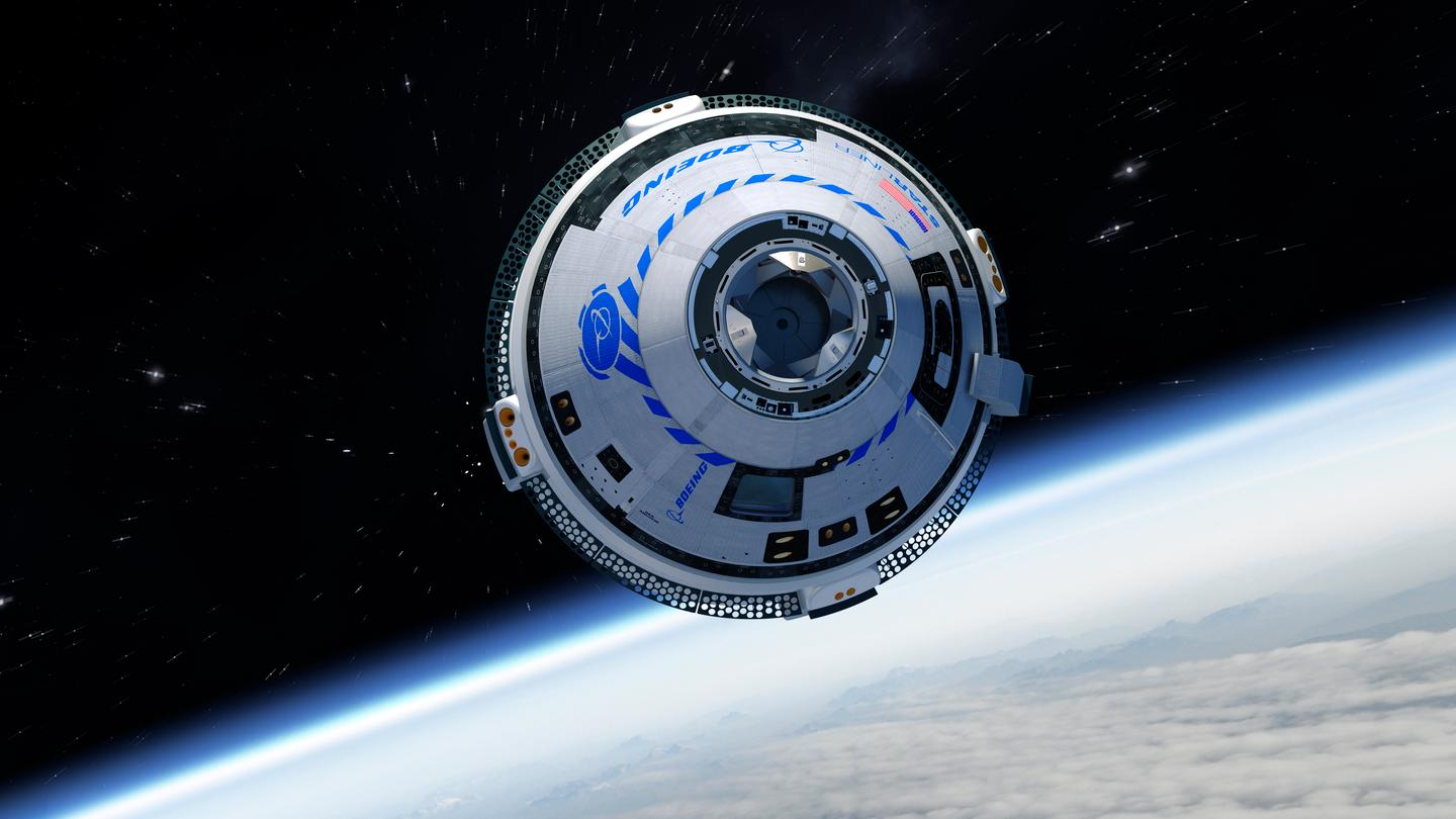 An artist's rendering of the Starliner in orbit