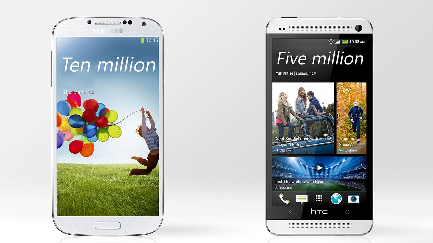 Unofficial reports have HTC selling five million Ones, compared to ten million Samsung Galaxy S4s
