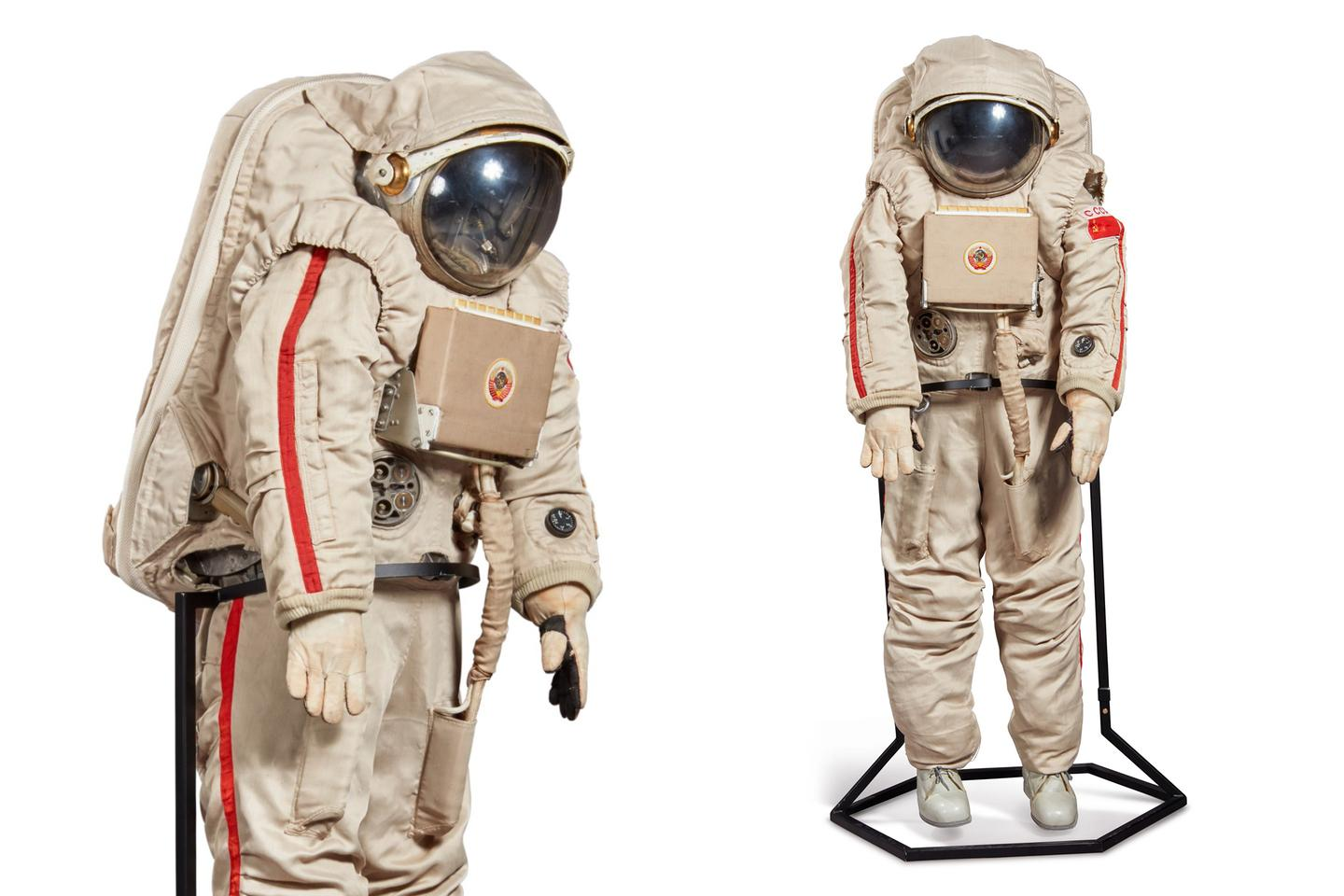 """The Krechet-94 (""""Gyrfalcon"""") lunar EVA spacesuit was designed to be used on Moonwalks as part of the ill-fated N-1/L-3 Soviet lunar program. The N1 was the Soviet counterpart to the American Saturn V, and remains the most powerful rocket ever built, though each of the four attempts to launch failed. After the death of Sergei Korolev, the chief architect of the Russian space program, the project never recovered, and the N1 program was suspended in 1974, before being officially cancelled in 1976. This Krechet-94 suit was likely made for training, as the LSS controls appear to be a mock-up and are not functional."""