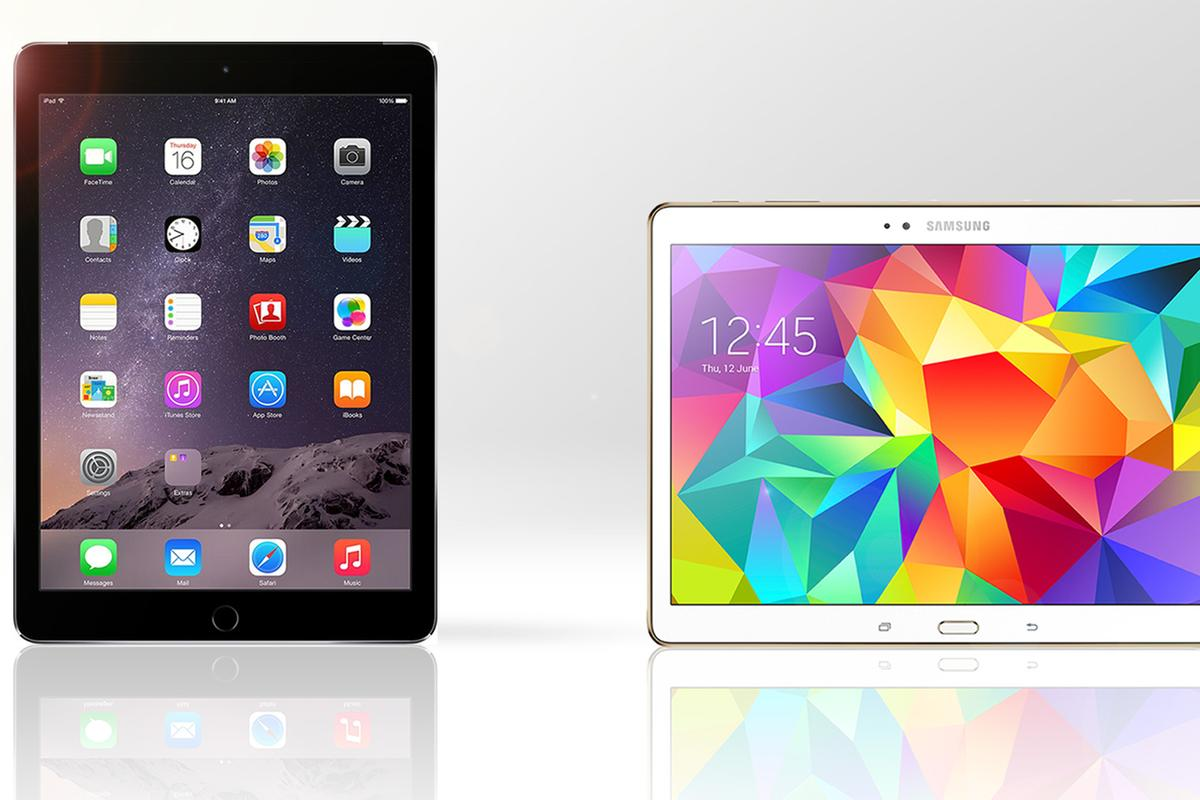 Gizmag compares the features and specs of the iPad Air 2 (left) and Samsung Galaxy Tab S 10.5