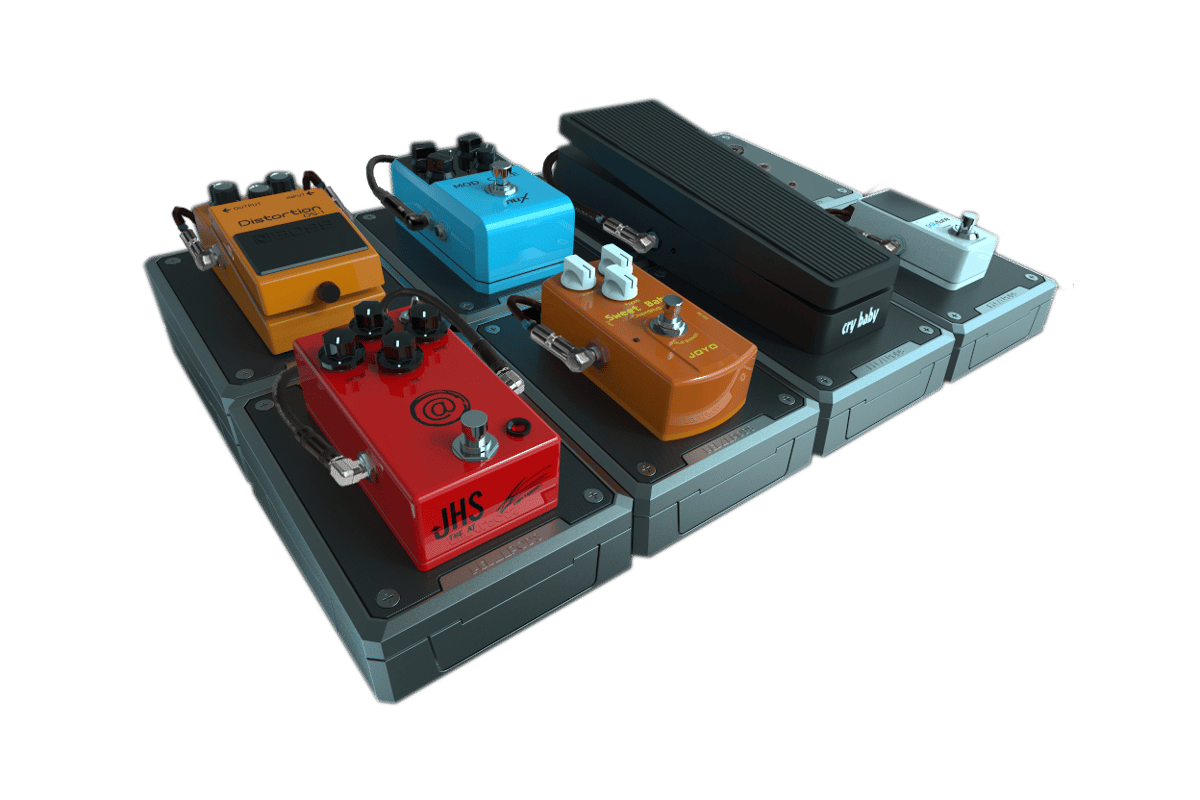 Each Pedal Pods module has its own adjustable power source and locks with other Pods to form a custom pedalboard