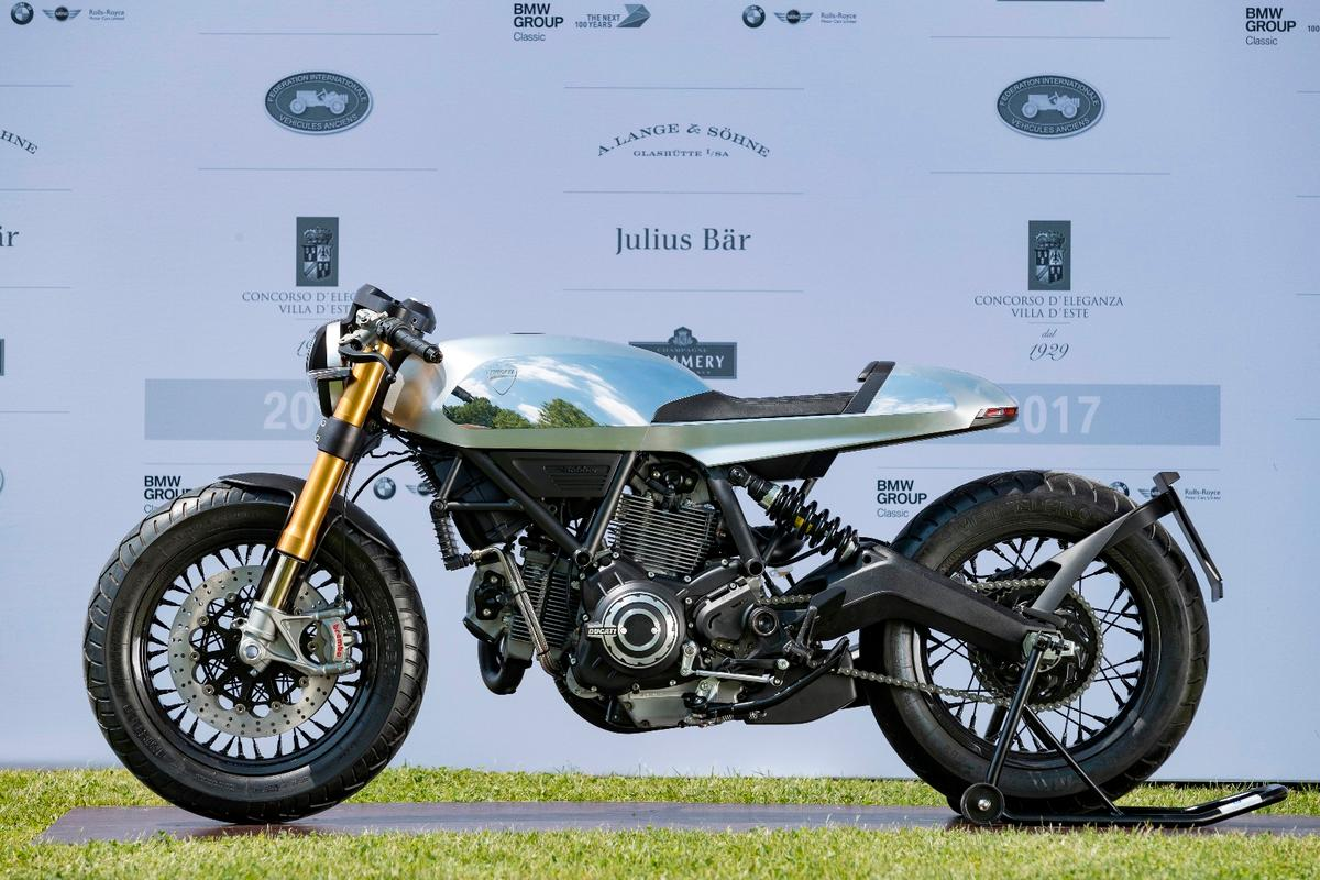 The winner of the public vote for the best in show motorcycle at Villa d'Este was this Ducati Café Racer created by Ducati's own Centro Stile design studio. There's not a lot of information about the bike, though it is clearly a derivative of the 800cc Scrambler wearing an aluminum monocoque seat-tank unit with some exquisite finishing work that contrasts between highly polished and a satin finish. It speaks volumes for the prestige of the Villa d'Este Concorso di Motociclette that Ducati should enter two concept bikes that have never been previously seen.