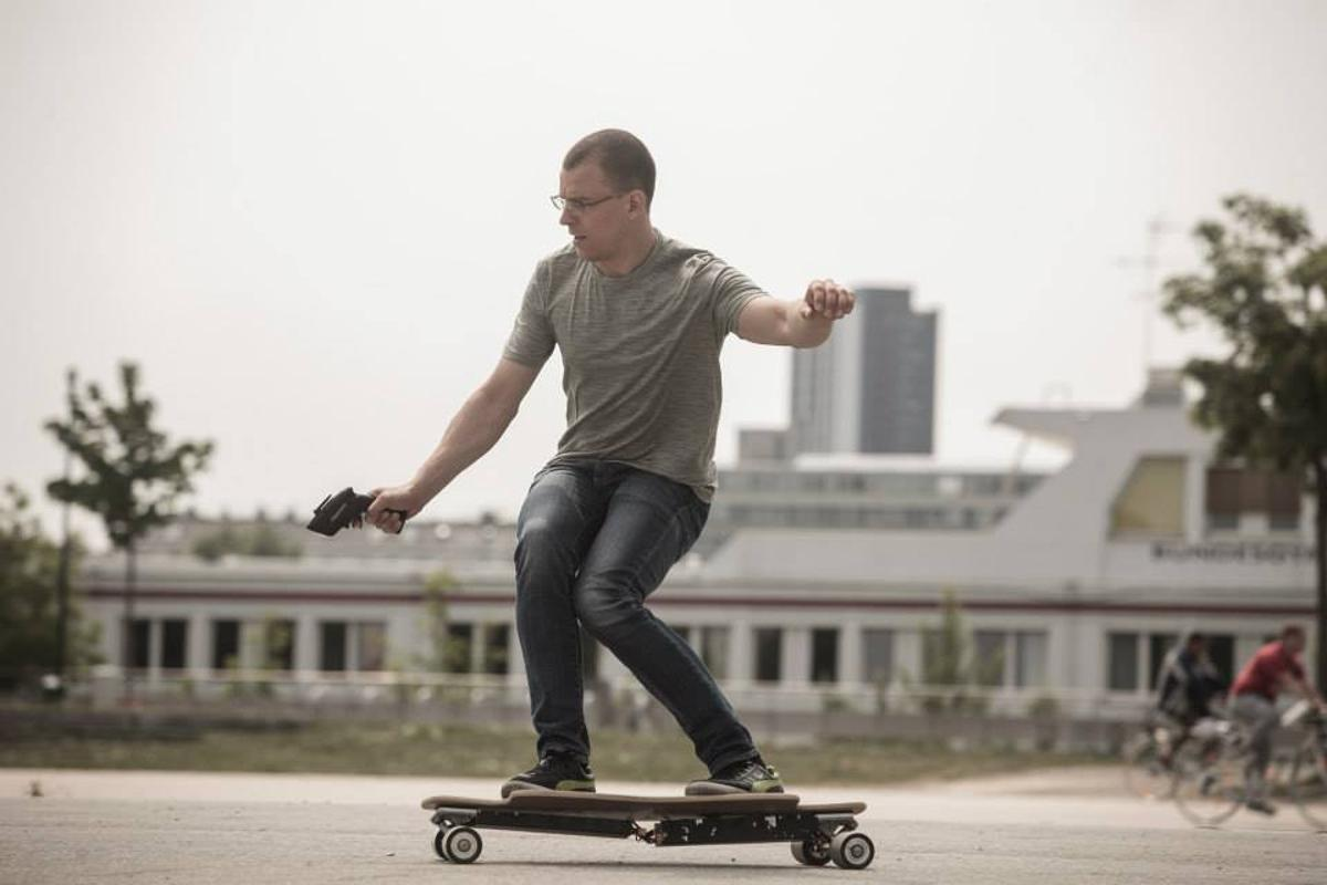 Mischo Erban (Guinness world record holder for fastest skateboard speed from a standing position) recently test-rode the Next Board in Vienna