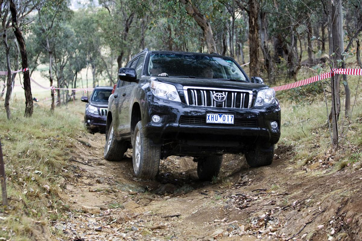The Toyota Prado gets put through its paces on the 4WD test track