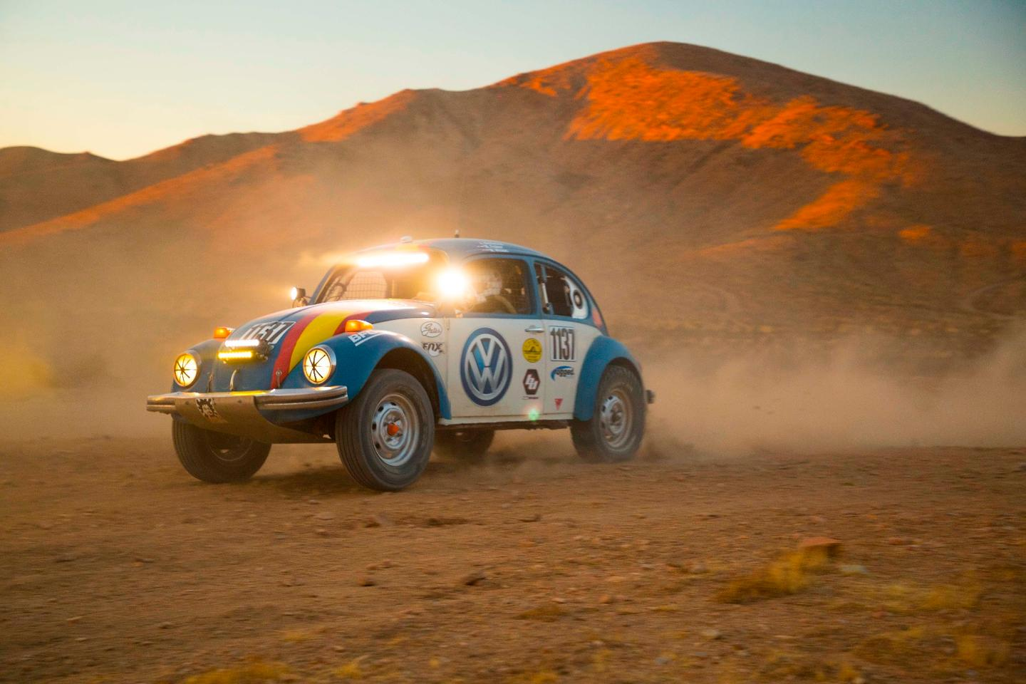 Tope has been restored and modified for desert racing, running with a stock 1.6-liter air-cooled horizontally-opposed engine and a type 1 transaxle with limited modifications for the rigors of the desert race