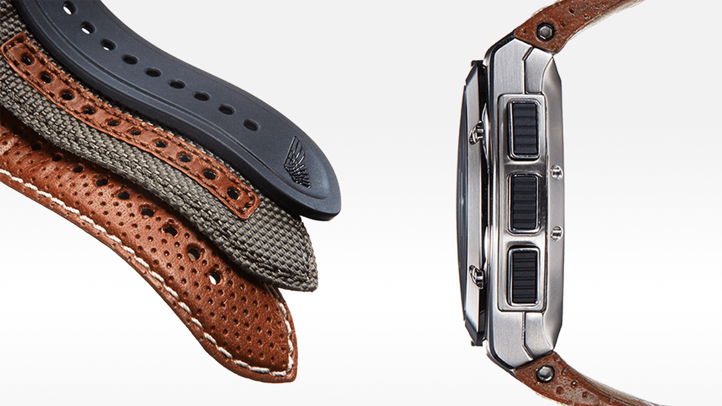 The wearable will ship with perforated brown leather, olive green nylon, and black leather straps (Image: Gilt)