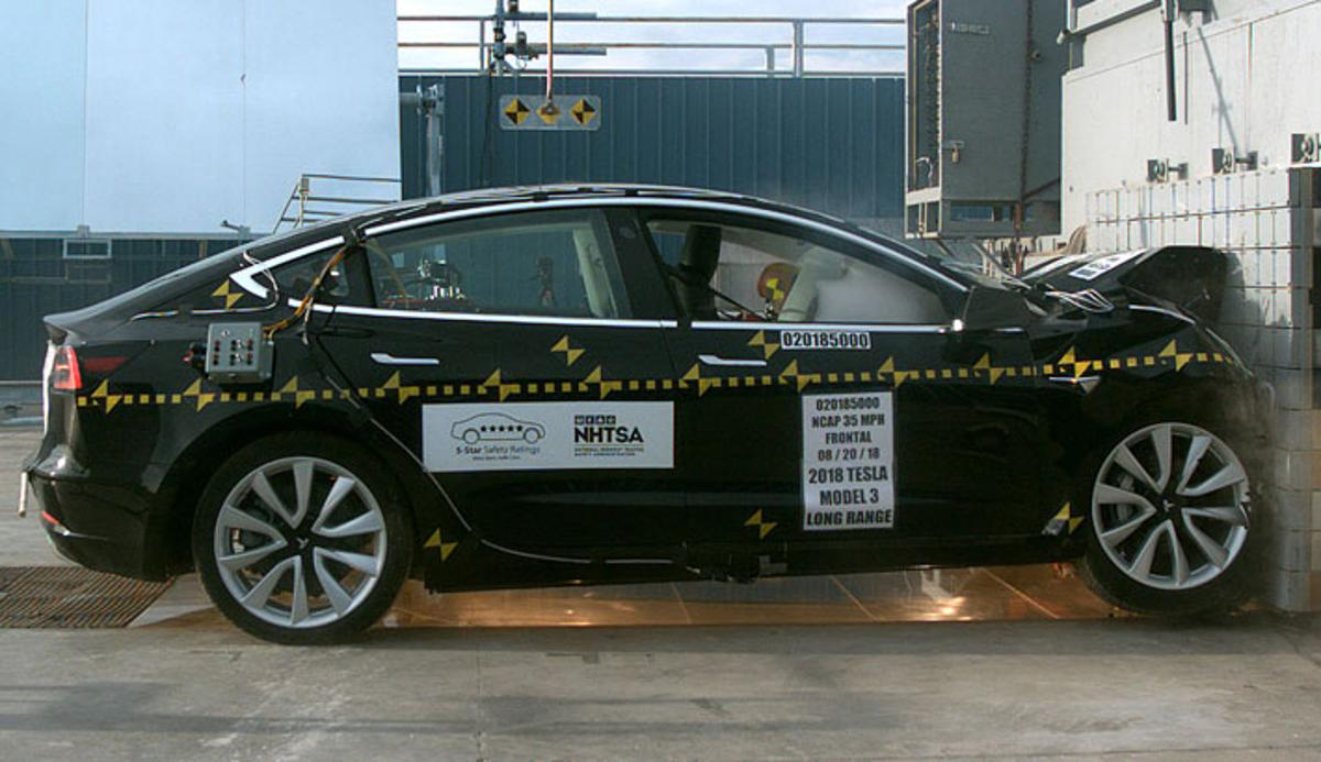Tesla, and electric cars in general, have some advantages over ICE-powered vehicles when it comes to crash safety
