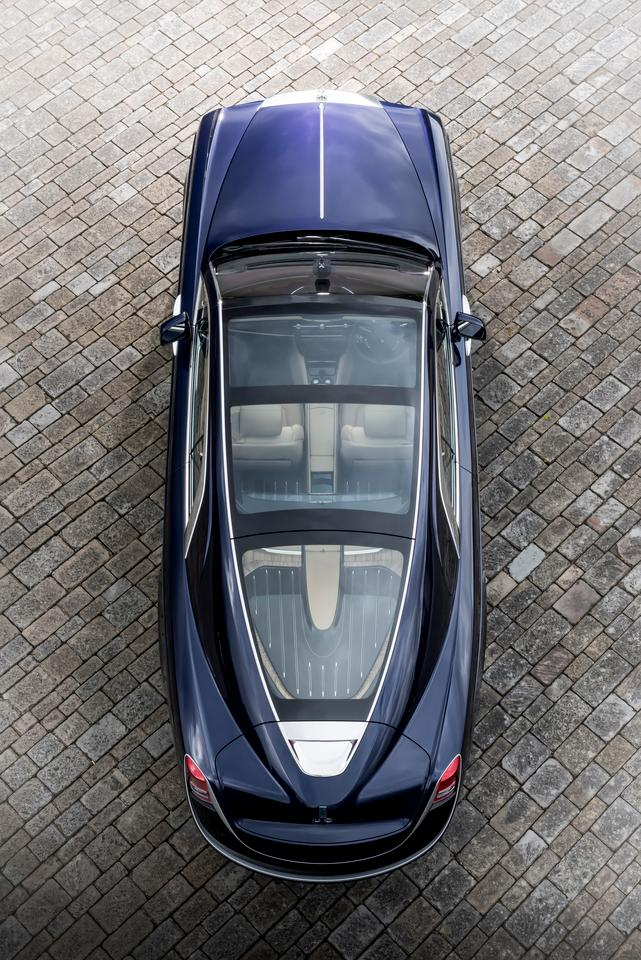 The panoramic roof of the Sweptail is unique to this car