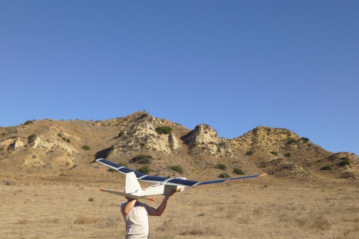 The solar-powered Puma AE prototype readied for hand launch (Photo: Courtesy AeroVironment, Inc.)
