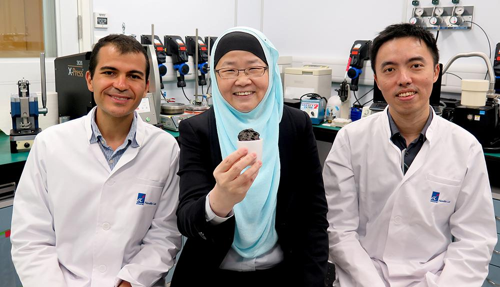 A research team in Singapore have developed a new lithium-sulfur battery they say overcomes the limitations of previous designs. (Left to right): Dr. Ayman AbdelHamid, Prof. Jackie Y. Ying and Mr. Jian Liang Cheong.