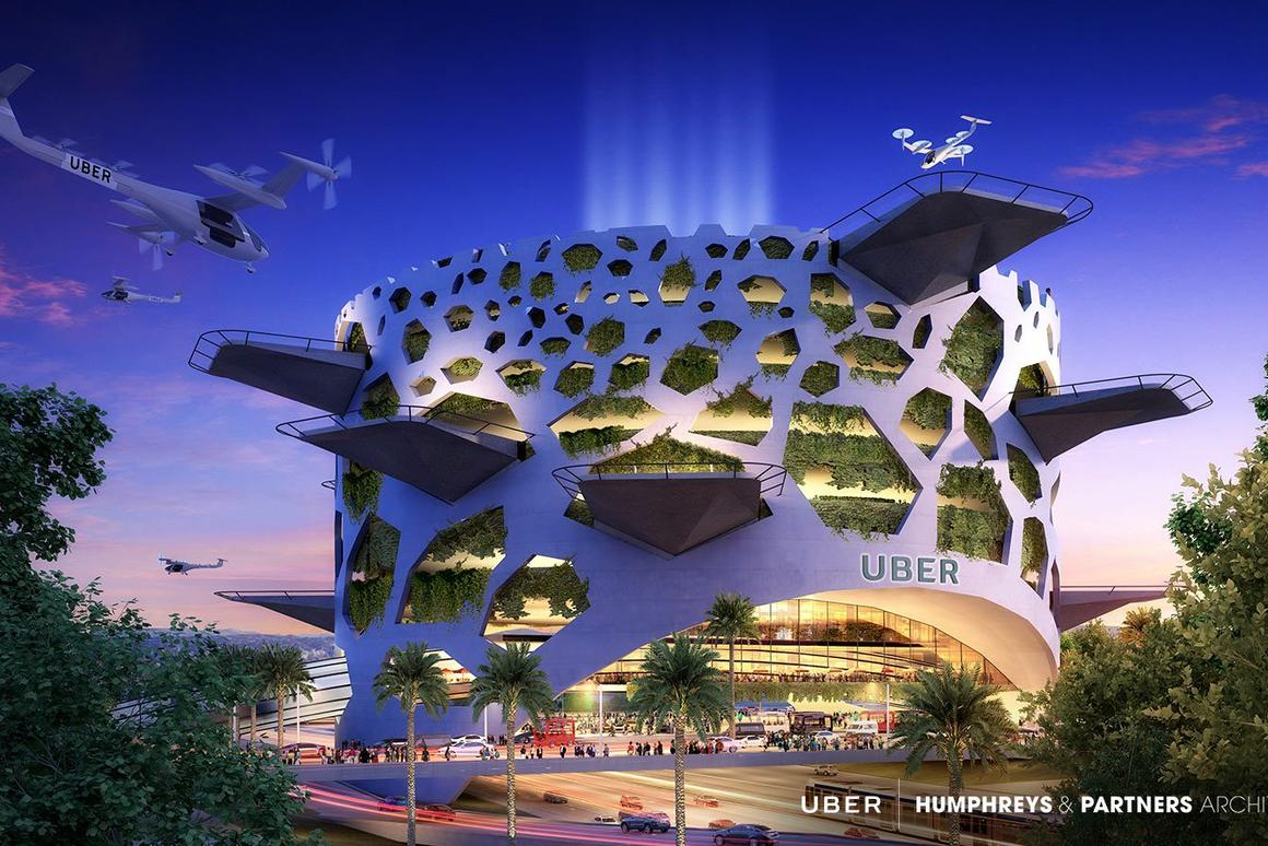The beehive-inspired Mega Skyport by Dallas-based architecture firm Humphreys & Partners Architects would be a mixed-use development containing offices and retail spaces
