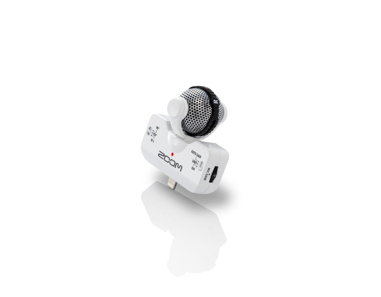 The iQ5 features a unique rotating mechanism which allows for left-right stereo recording at CD-quality resolution, even if the iOS host device is capturing video in landscape mode