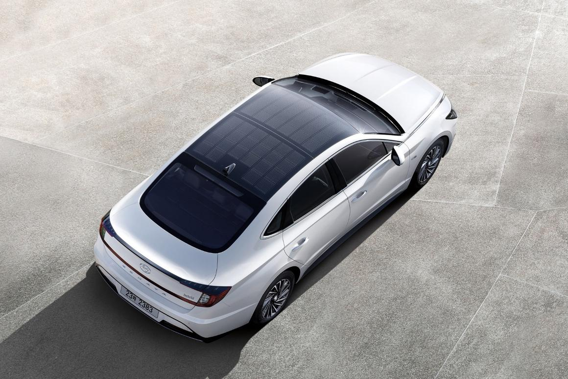 The rooftop solar panels on the Sonata Hybrid can provide up to 60 percent of its battery power with six hours of daily charging, Hyundai says