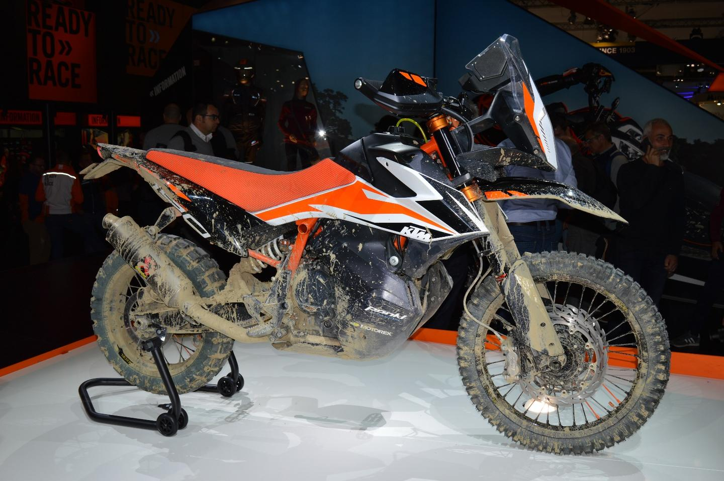 "The 790 Adventure R prototype at EICMA 2017 appropriately finished in a ""rally-style"" paint job"