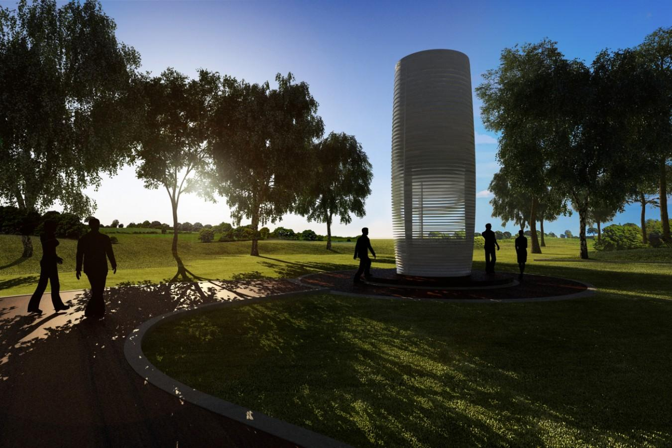 The Smog Free Tower is a planned 7 x 3.5 m (23 x 11.5 ft) structure that draws in dirty air and purifies it before expelling it back into the environment