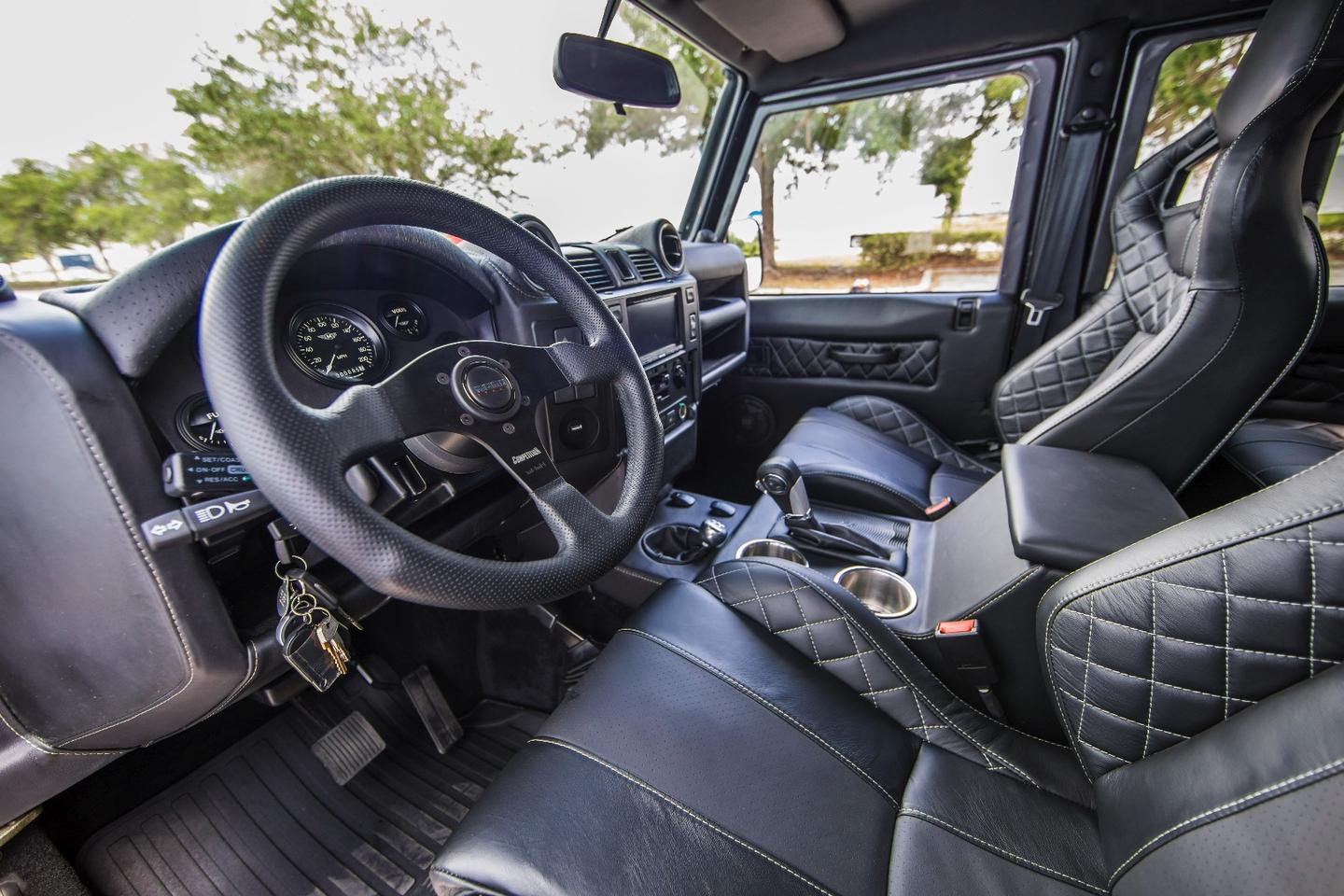 The Project Viper interior includes leather seats with white contrast stitching