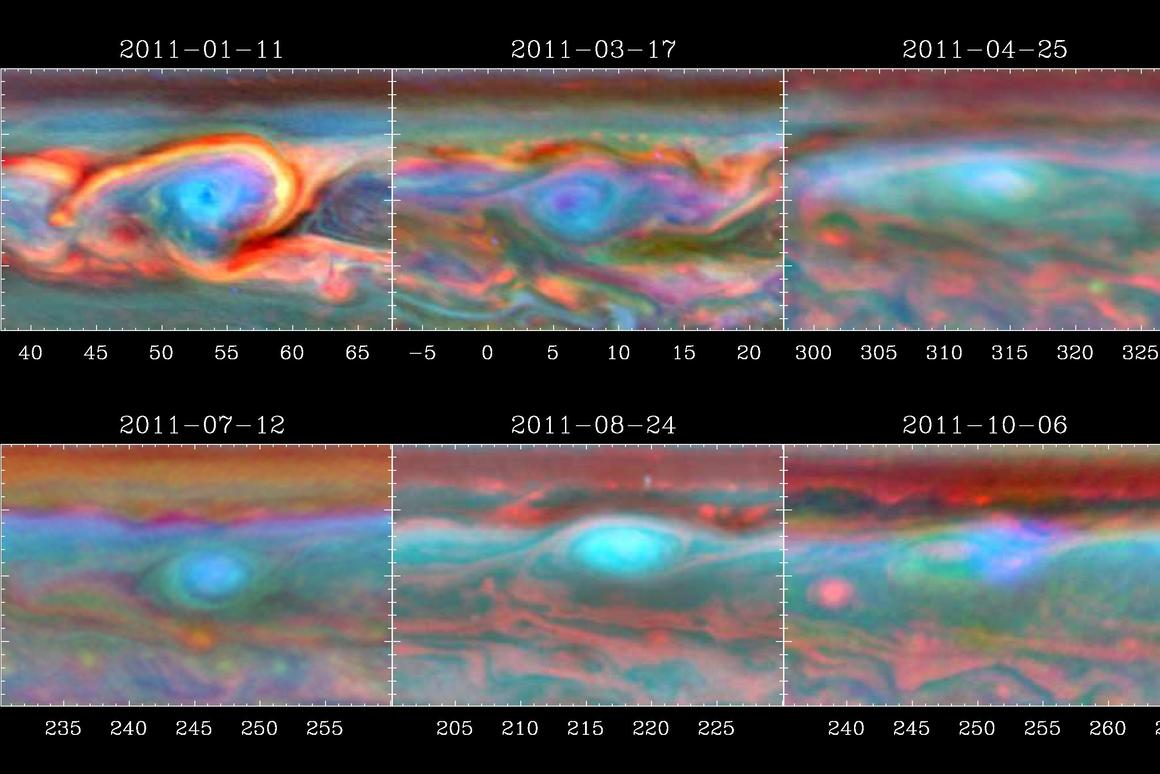 False-color images showing a Saturnian storm slowly dissipating after running into its own tail (Image: NASA/JPL-Caltech/SSI/Hampton University)