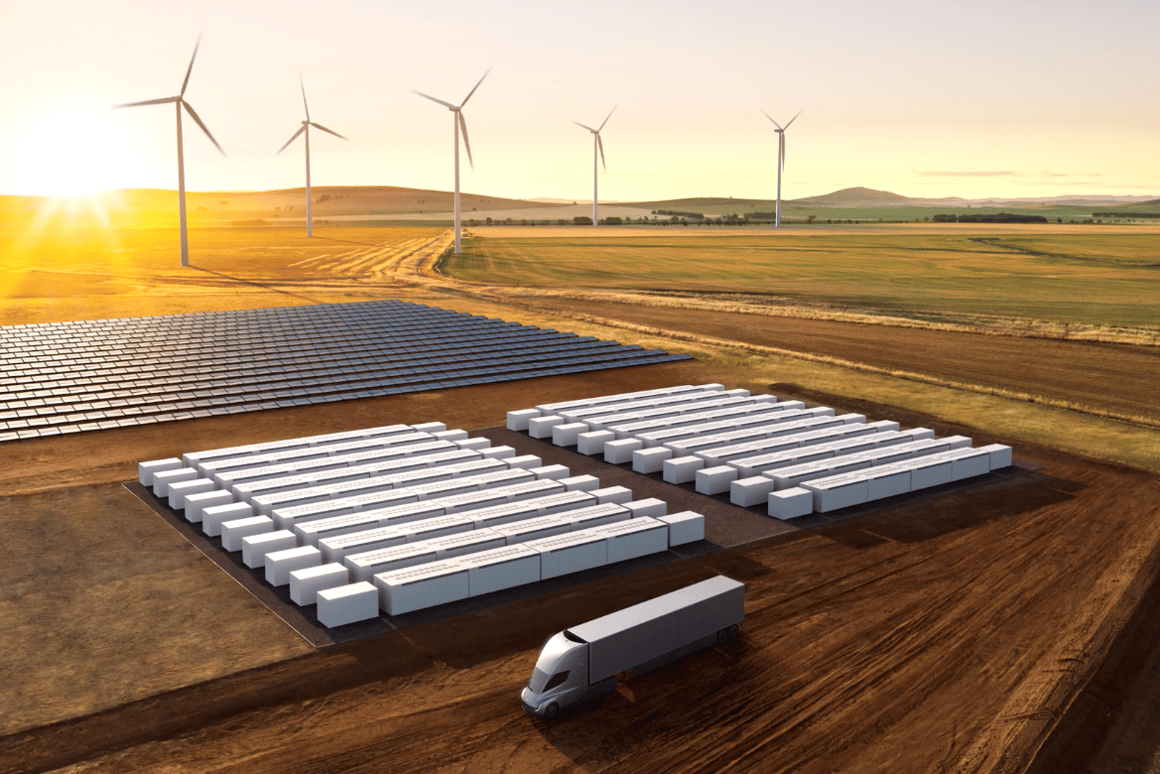 Tesla'sMegapack batteriescan hook up directly to solar via a DC connection forwall-to-wall renewable plants