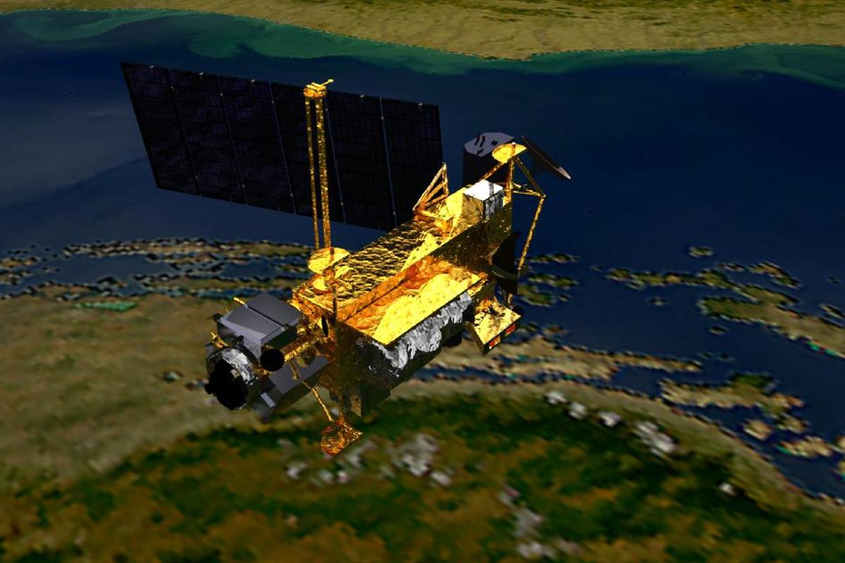 This artist's impression shows the Upper Atmosphere Research Satellite, launched on Sept. 15, 1991, by the space shuttle Discovery (image from NASA)
