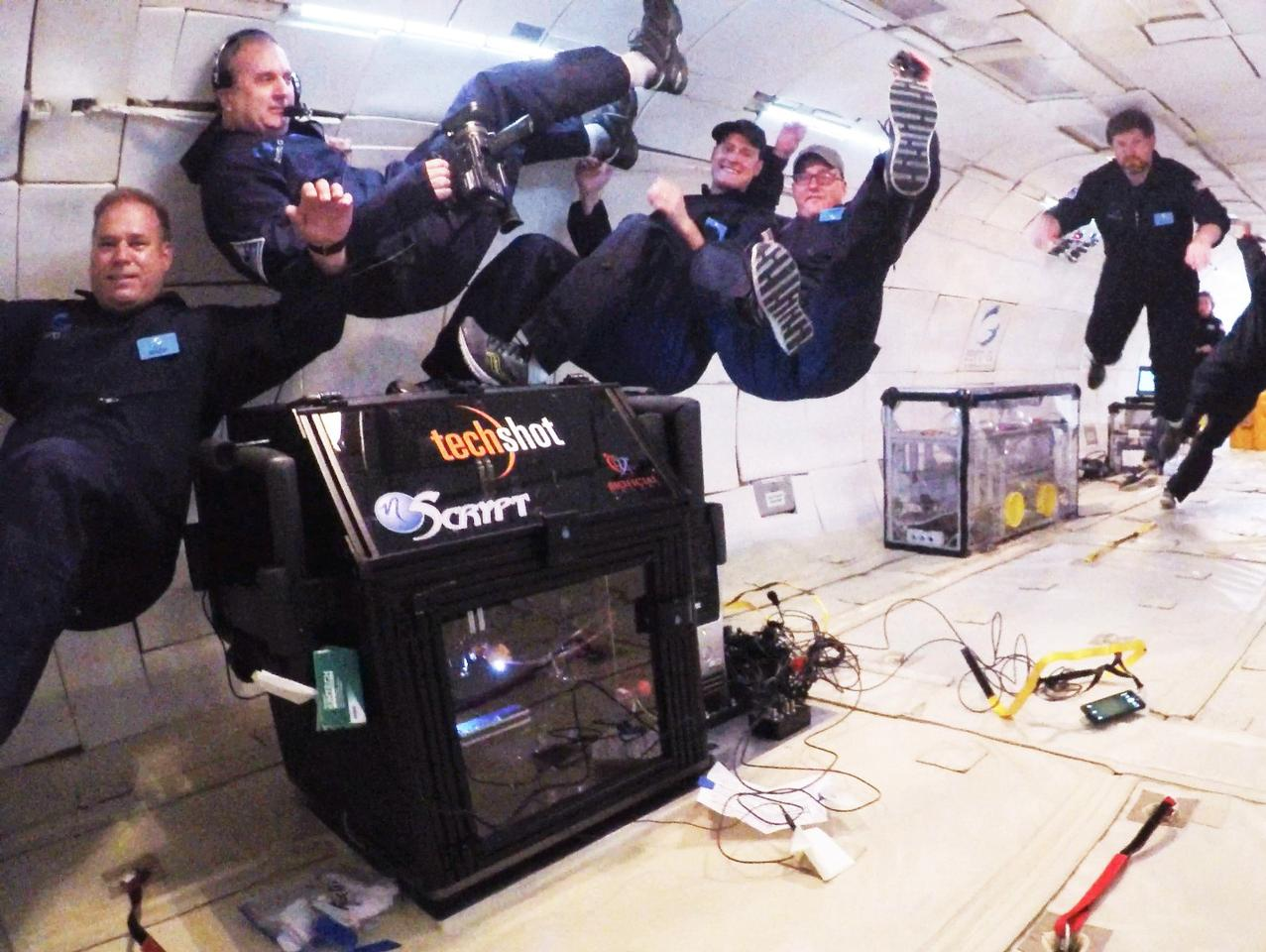 While the bioprinter stayed attached to the zero-gravity-simulating plane as it worked, the same can't be said for the crew
