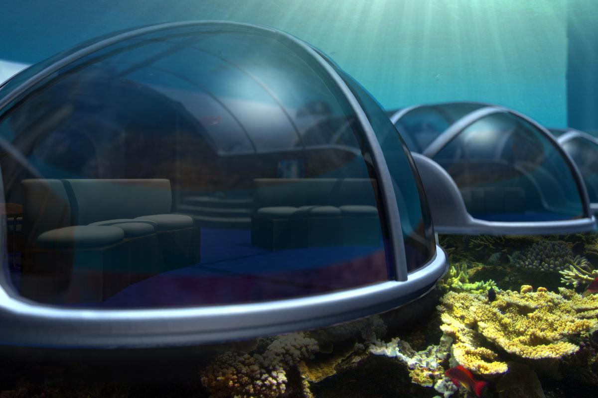 The walls will be made of transparent acrylic to guarantee visibility to underwater vistas