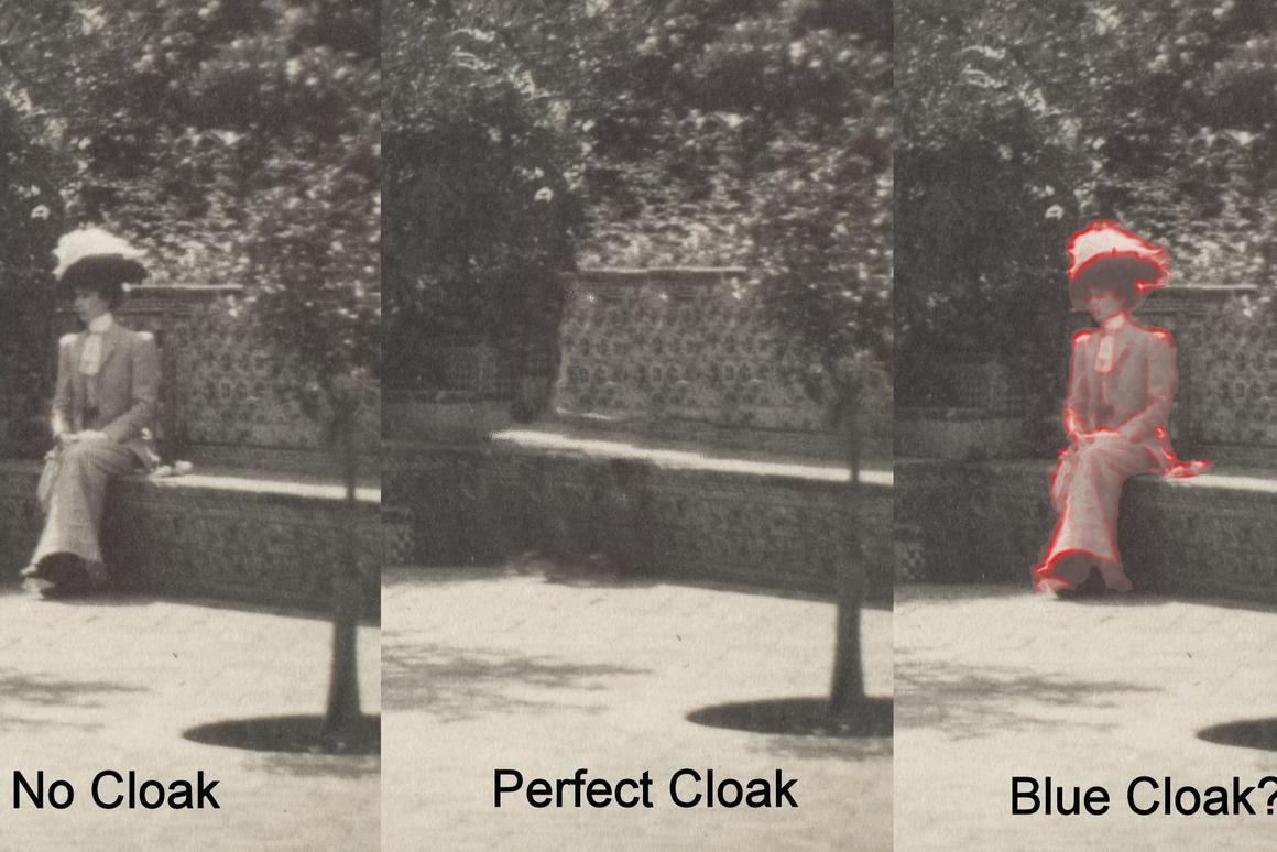 While one would hope to make an invisibility cloak that performs like the central image, it appears that basic laws of physics may cause a result more like that of the image on the right (Photo: B. Dodson)