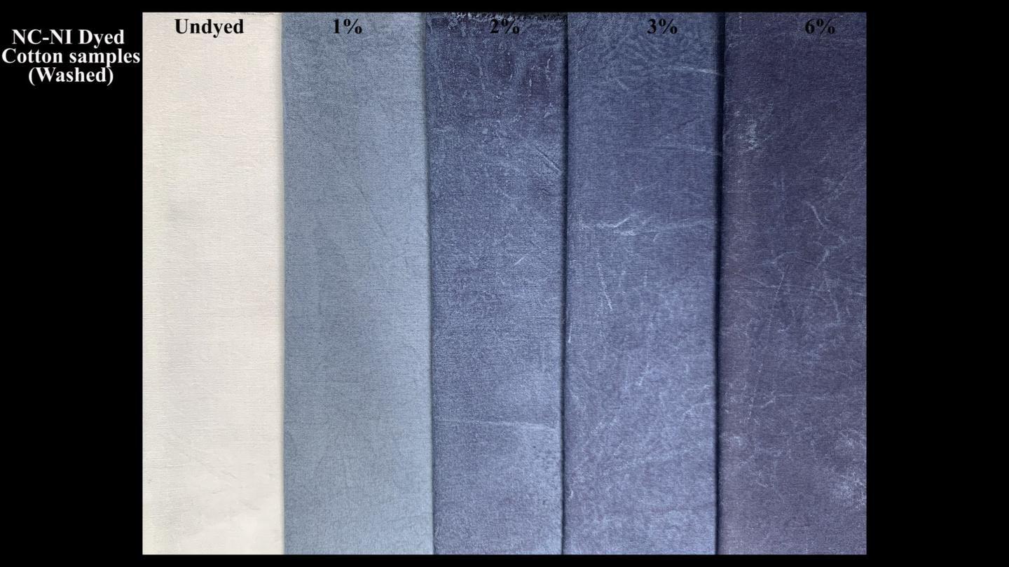 Different shades of blue can be produced by varying the amount of indigo used in the hydrogel