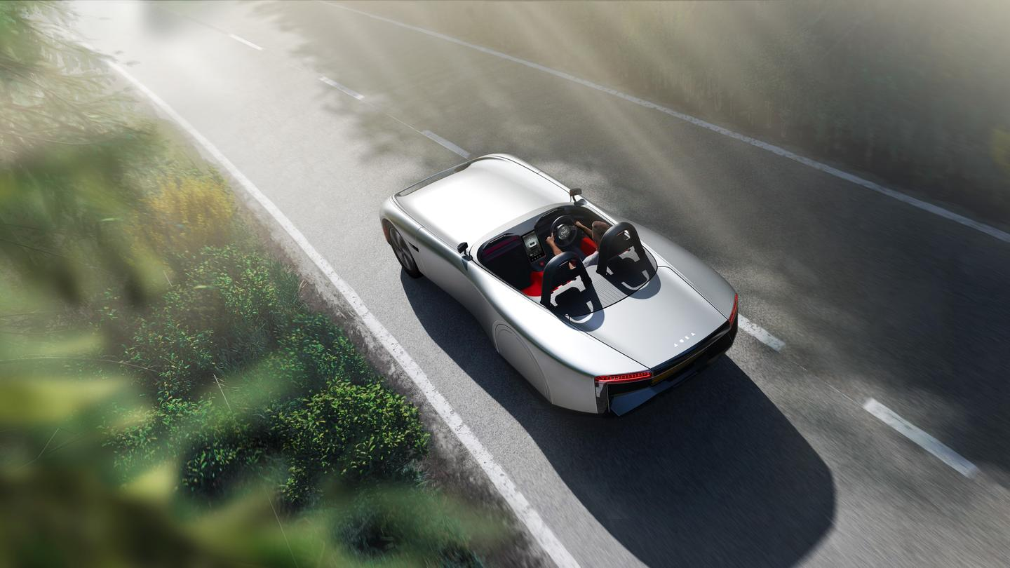 The Aura team cuts the roof and windshield out to create a clean, sporty electric roadster