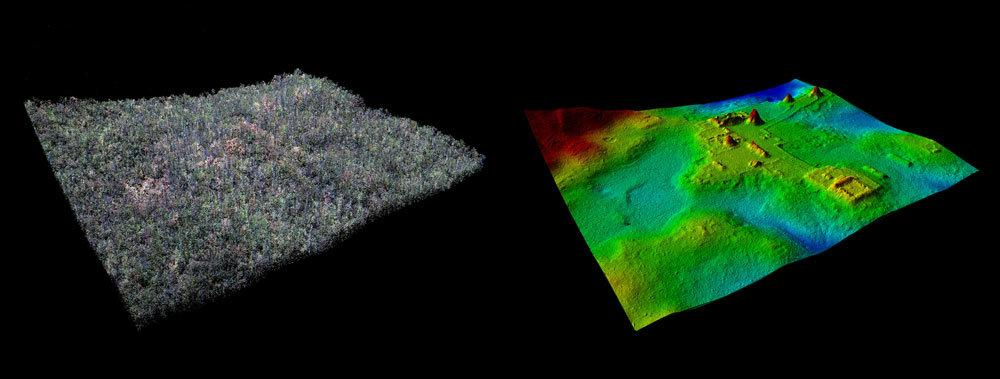 Rendering of the ancient Mayan site of El Zotz in its natural state with trees (left), and with the trees digitally removed in the LiDAR image (right), revealing previously undiscoveredstructures