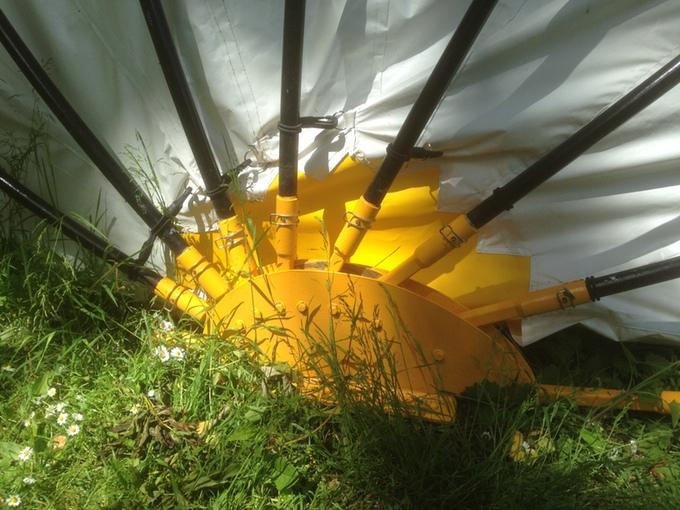 The Mollusc side hub is what allows the tent poles to move, opening the fabric up