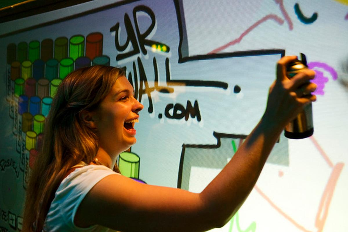 YrWall allows users to digitally create graffiti, using an infrared spray paint can