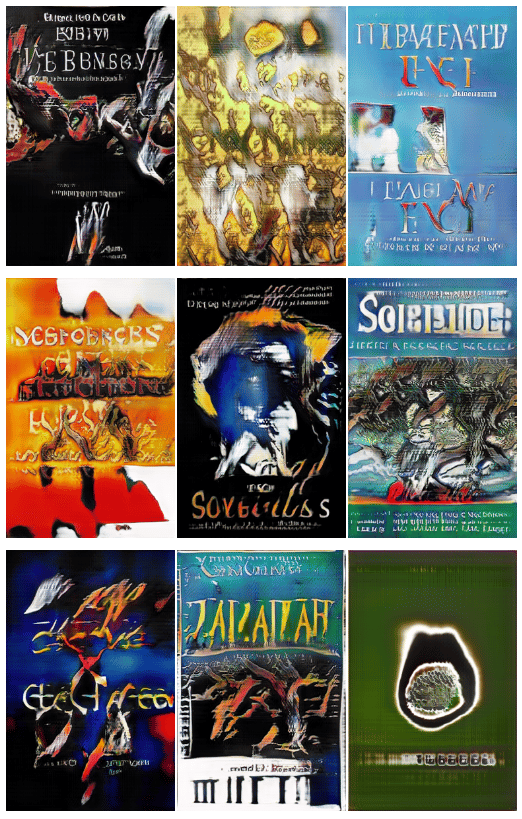 A selection of books covers, all generated by neural networks