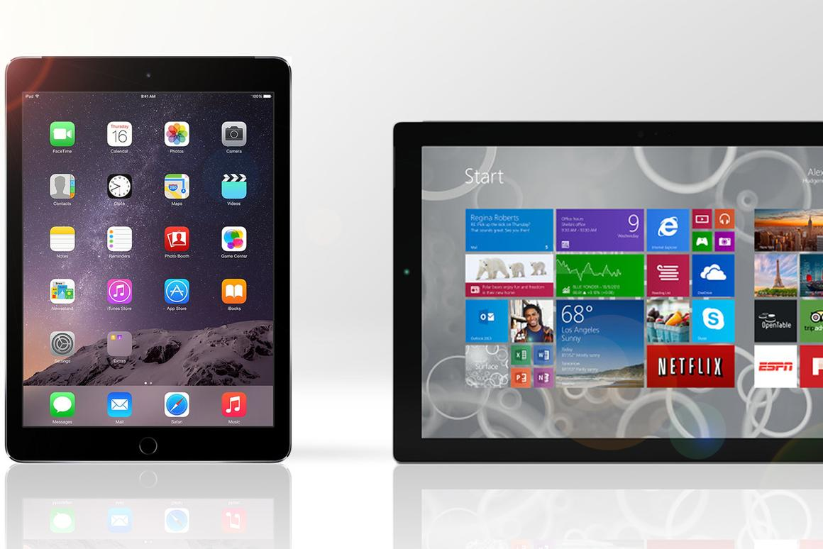 Gizmag compares the features and specs of the iPad Air 2 and Surface Pro 3