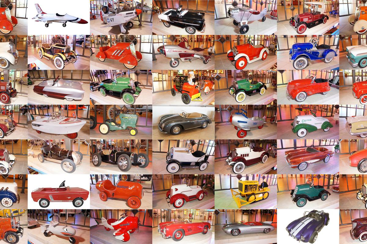 The Pratte Collection auctioned last week, is best known for containing Carroll Shelby's 800 hp Super Snake Cobra, the 1954 Pontiac Bonneville Concept car and the GM Futurliner, but it also contained one of the largest collection of childrens' cars ever assembled. More than 70 went to auction and they'll make you drool.