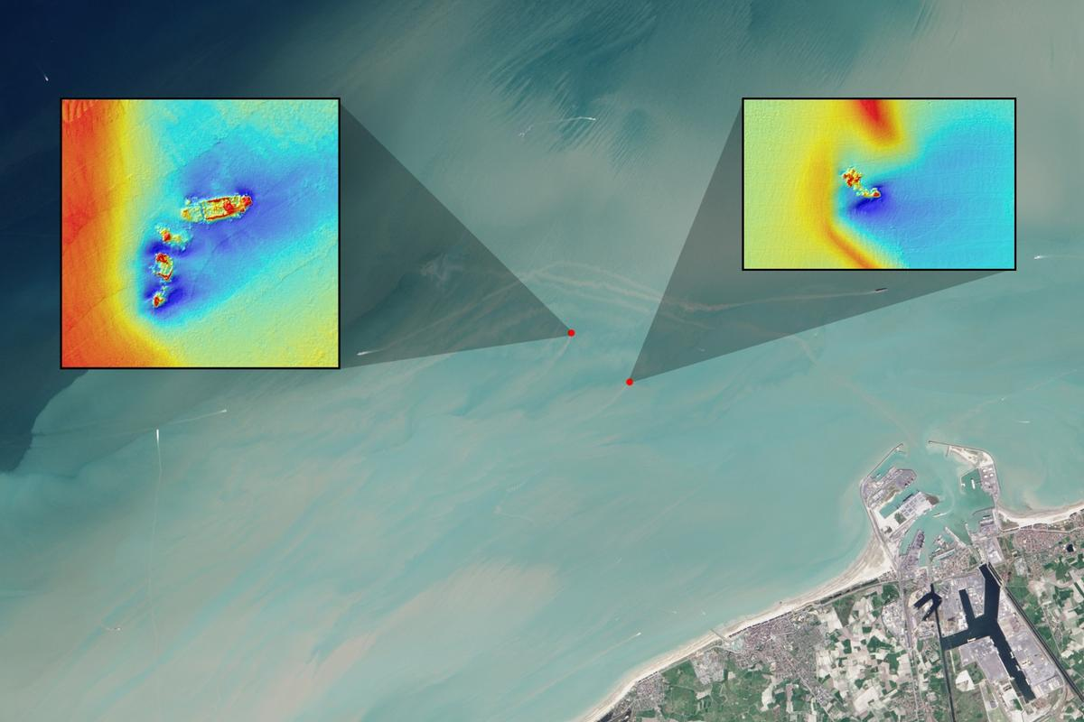 The researchers determined that it's possible to use Landsat data to make shipwreck detections (echosounder data, which was also used for the study, can be seen in the inset images)