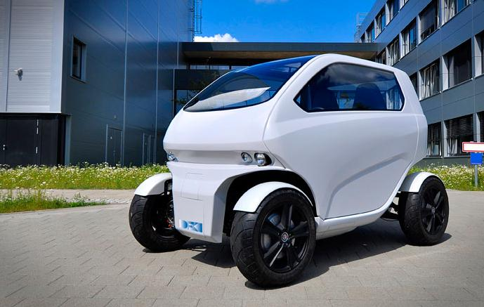 "Created by a team from the German Research Center for Artificial Intelligence, the EOscc2 was designed to be ""an ultra-flexible micro-car for mega-cities"""
