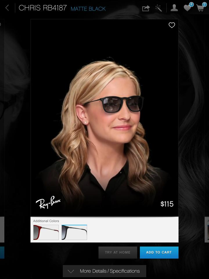 Users can see what they would look like in a variety of sizes and styles of glasses