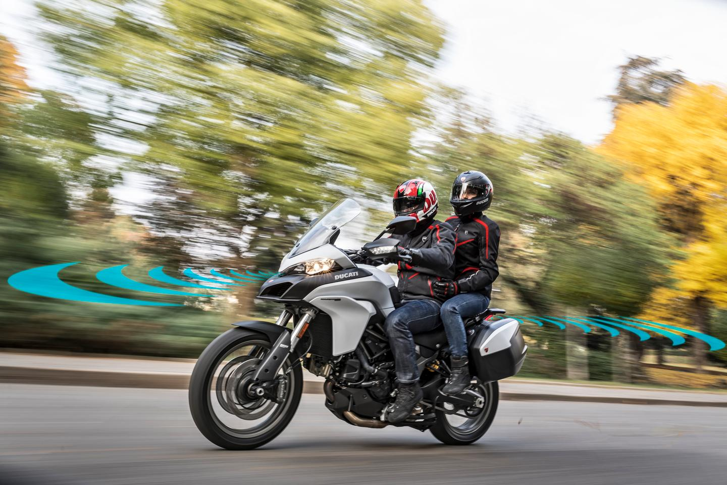By 2020, Ducati will have a model available with front and rear radars, enabling blind spot warnings, collision warnings and adaptive cruise control