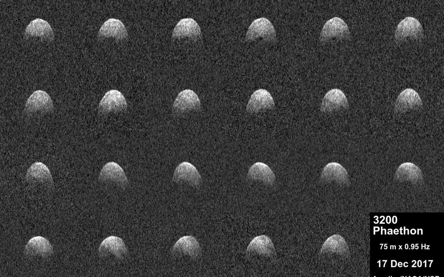 Radar images of near-Earth asteroid 3200 Phaethon generated by astronomers at the Arecibo Observatory on December 17, 2017