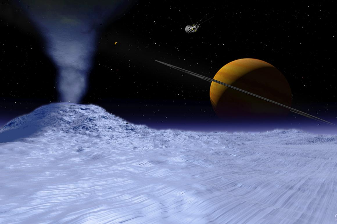 Artist's impression of Cassini over Eceladus