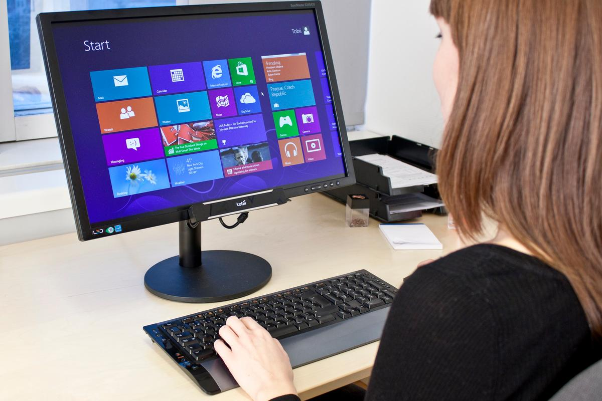 Tobii's REX (Developer Edition pictured) brings eye-tracking capabilities to Windows 8 PCs