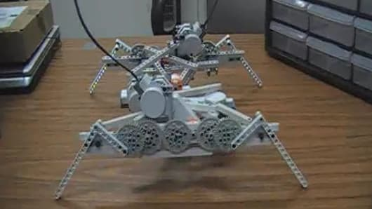 The physical robot constructed from Lego Mindstorm kits