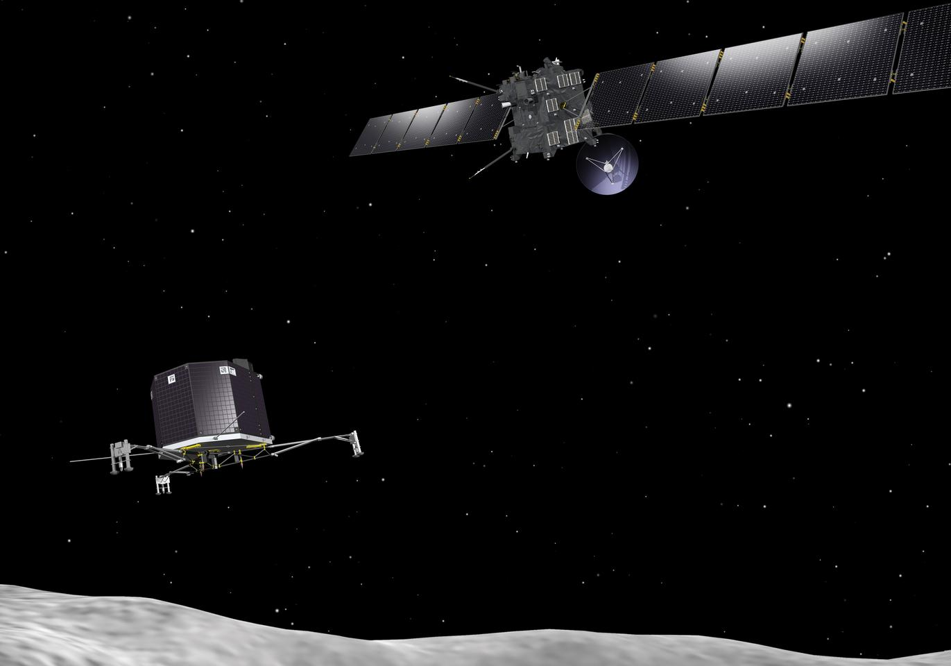 Artist's concept of the Rosetta orbiter and the Philae lander (Image: ESA)