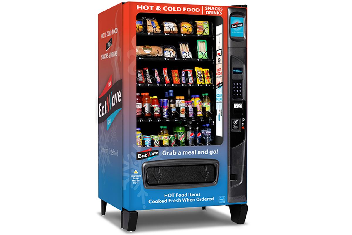 The EatWave vending machine stores cold food and drinks and can microwave specific items before they're delivered