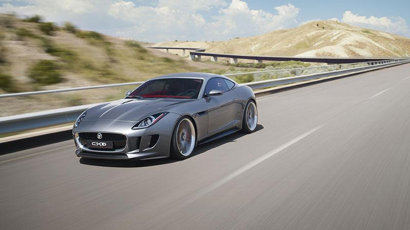 The Jaguar C-X16 production concept sports car on the road