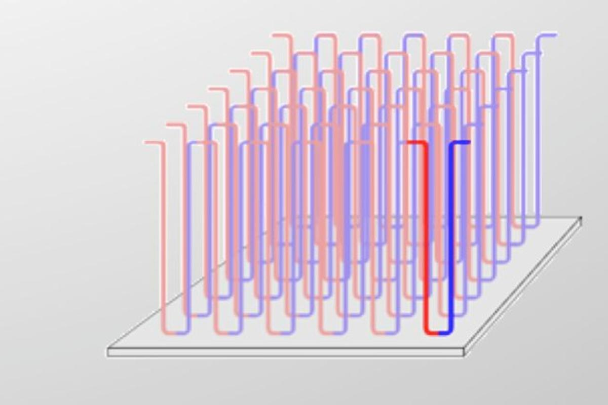 A diagram of nanowires used in a Racetrack memory chip