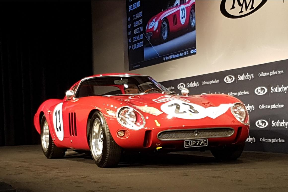RM-Sotheby's set a new world record for a car at auction this evening (August 25, 2018) when a 1962 Ferrari 250 GTO sold for $44 million (hammer price - with buyers premium, the full price was $48,405,000).