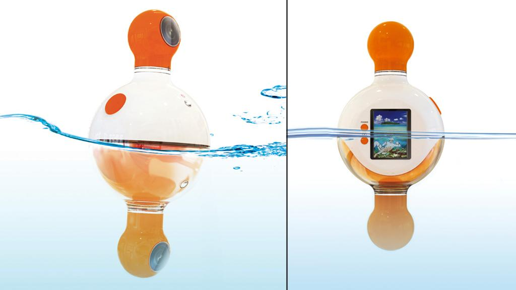The UNDERABOVE dual-lens camera concept bobs on the waterline to capture above and below water images