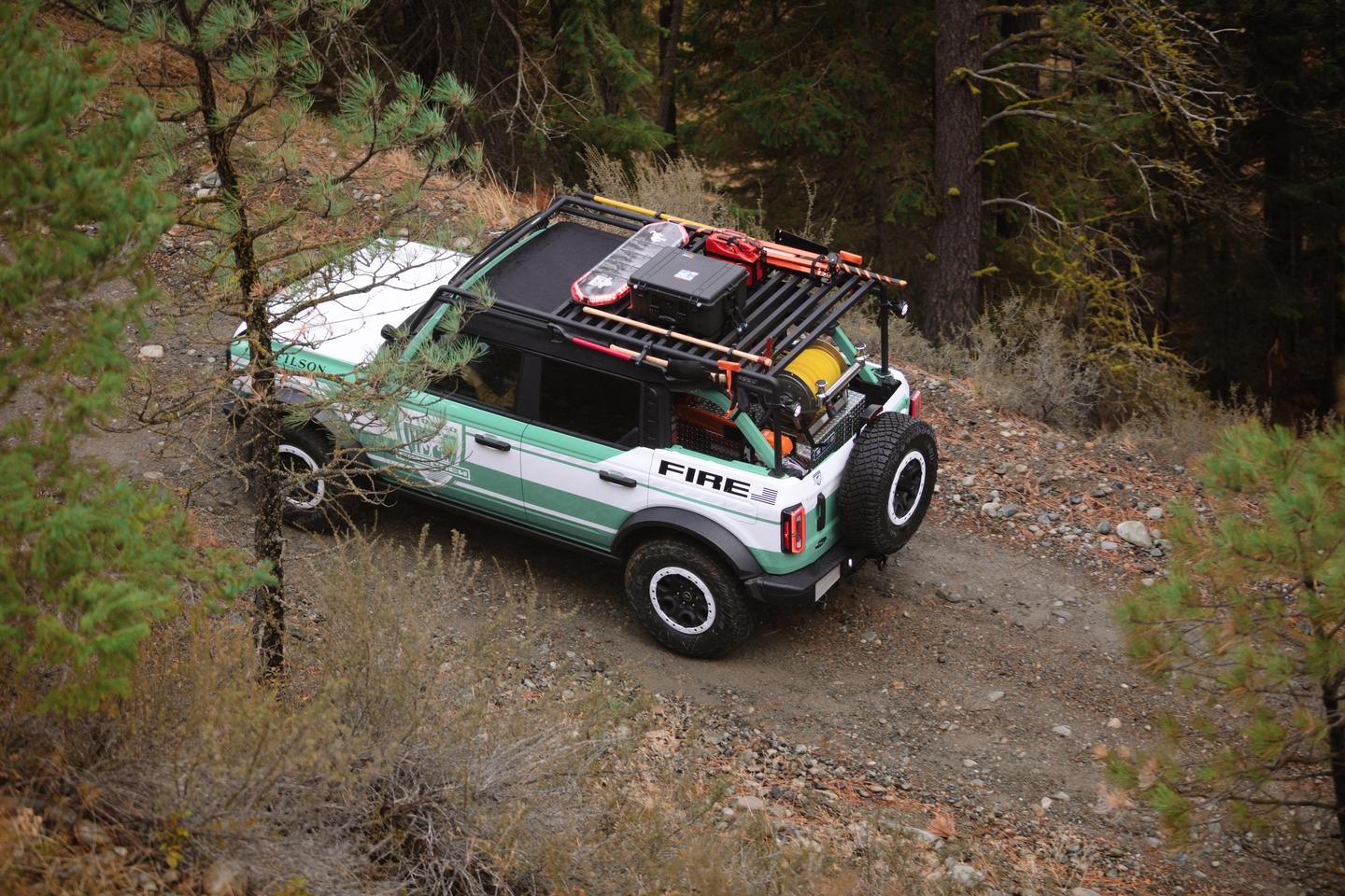 The custom roof rack carries equipment and works as a lookout stand to give firefighters a higher vantage point